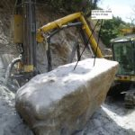 Ch 300 – Holes drilled into large rock for splitting.