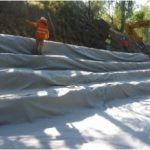 Dry Wall Treatment – excavated profile covered with geofrabric material