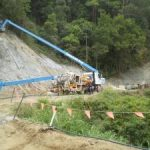 Ch 768 to Ch 800 Prepartion of upslope batter prior to the spraying of the shotcrete wall