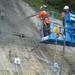 Ch780 close up of shotcrete spraying operation