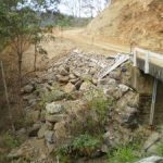 Completion of the armour rock protection of down slope batter at the bridge